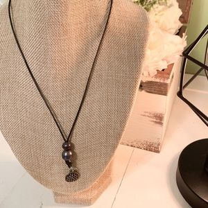 🔴3/$15 Leather Freshwater Black Pearl Necklace